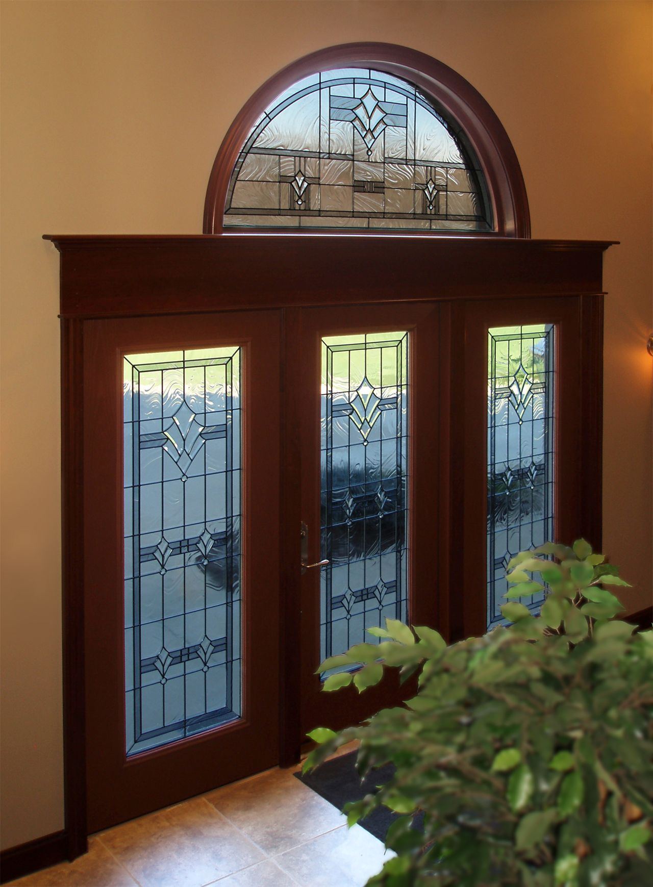 Triple Glass Doors For Large Grand Entrance (With Transom)
