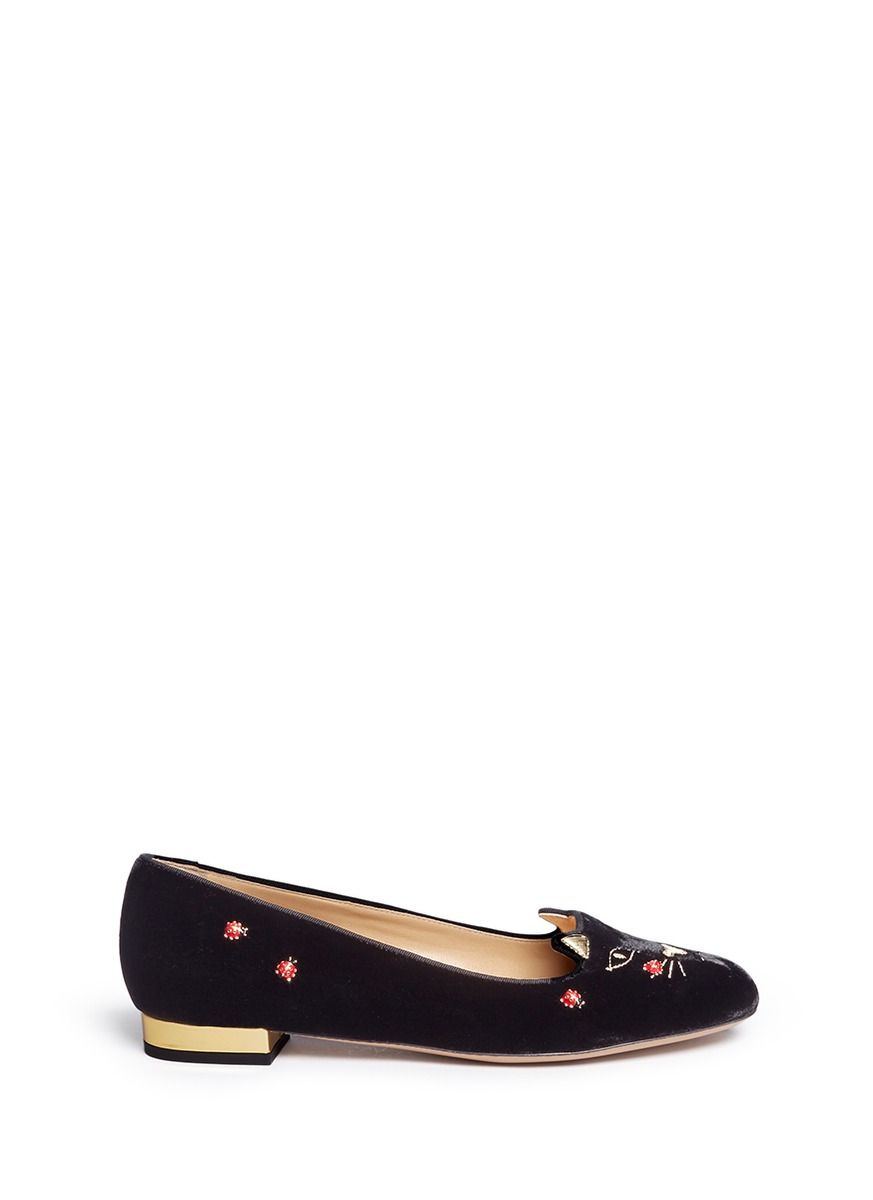 CHARLOTTE OLYMPIA  Lucky Kitty  Ladybug Embellished Velvet Flats.   charlotteolympia  shoes  flats cd4e7d4ff