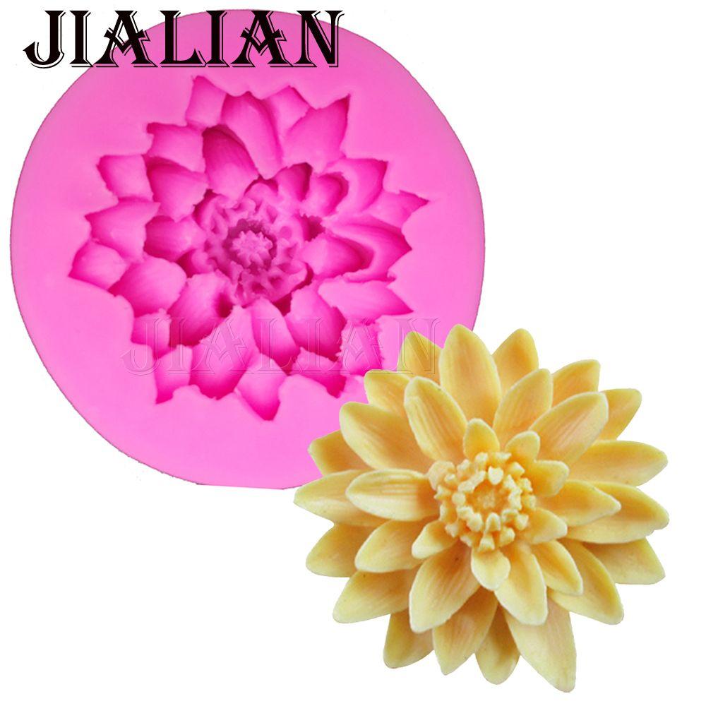 Goedkope 3d Mooie Lotus Chrysant Bloemen Wedding Cake Decorating