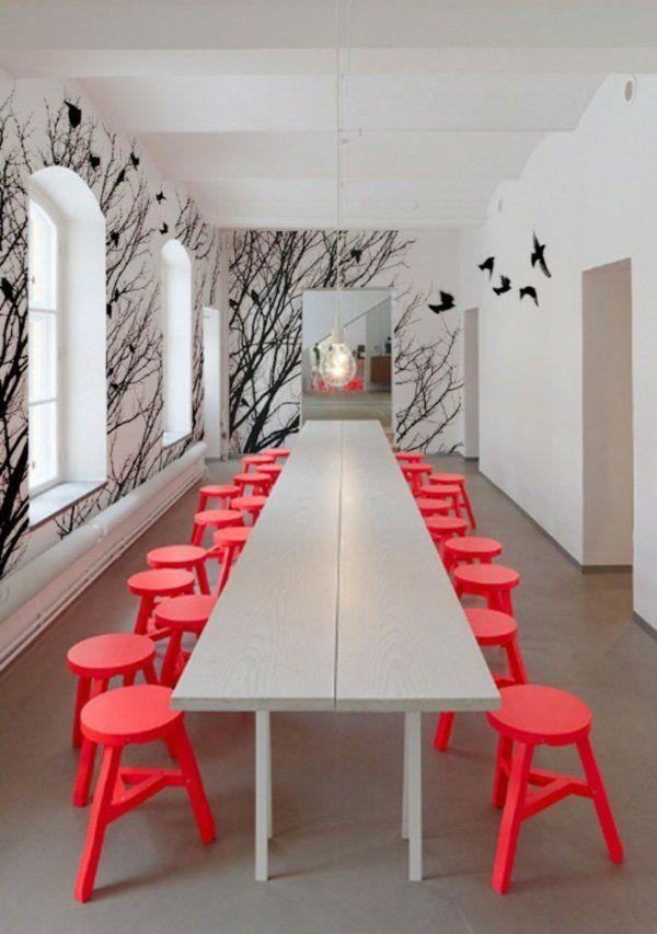 Fantastisch Zweige Und Natur Wandgestaltung Farbe Wandfarben Ideen Hocker Rot