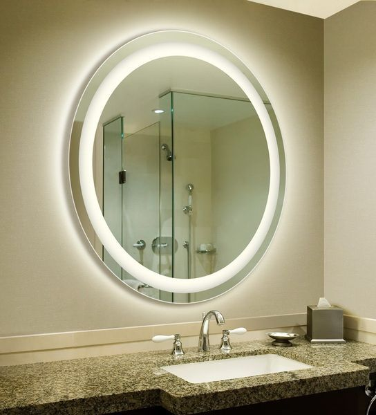 LED Backlit Circular Bathroom Mirror | Bathroom Remodeling ...