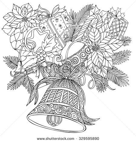 Coloring Book For Adult And Older Children Page With Pattern Made Of Christmas Decorative Elements