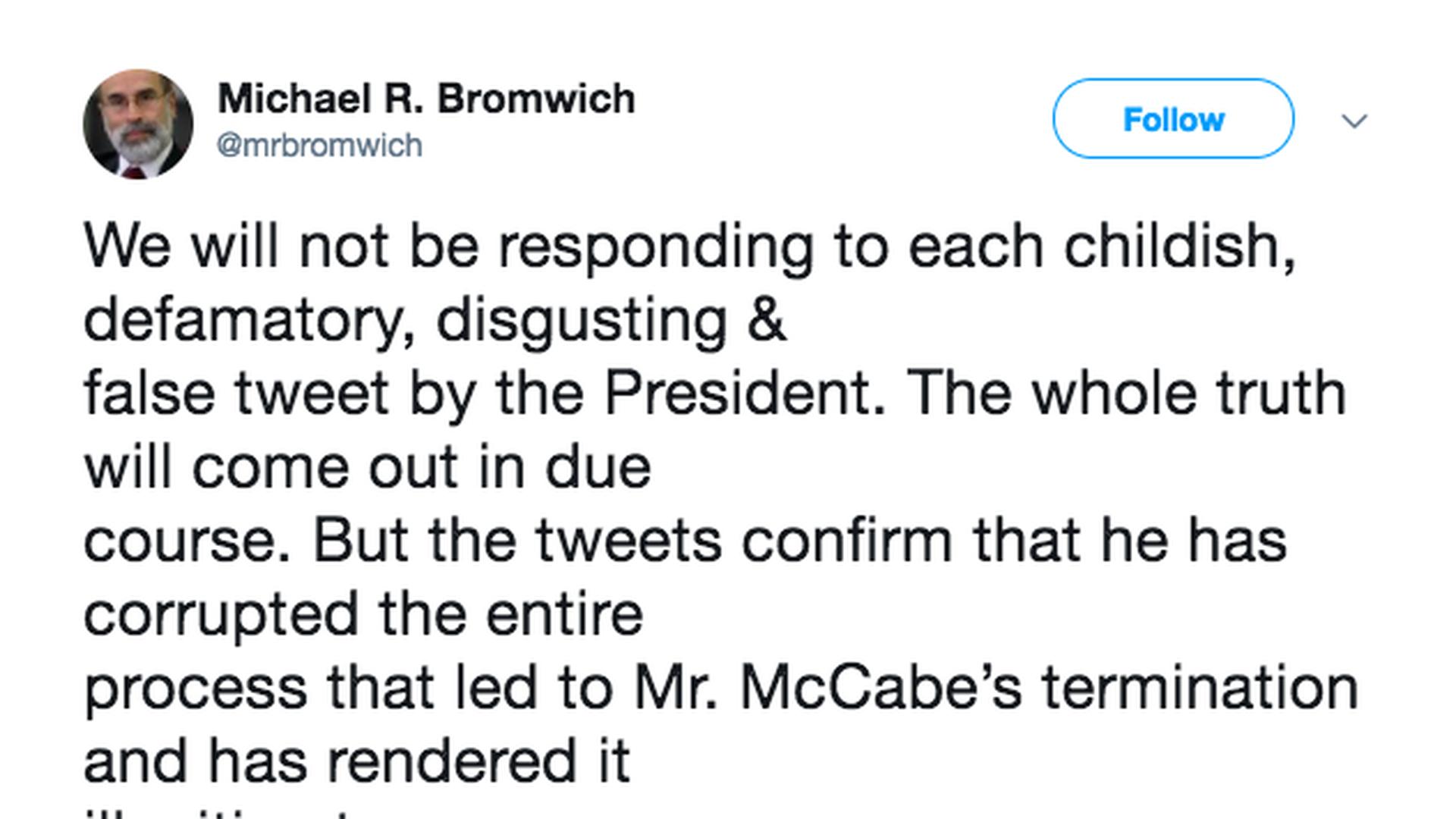 Mccabe Lawyer Trump Tweets Confirm Firing Was Illegitimate Axios Trump Tweets Trump Resist Trump