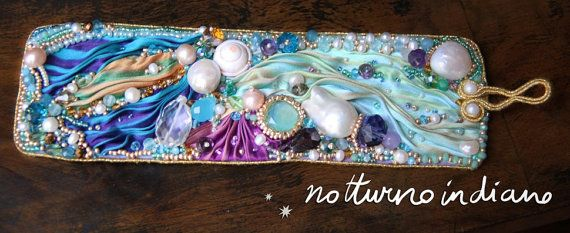 handmade shibori silk bracelet por notturnoindiano en Etsy