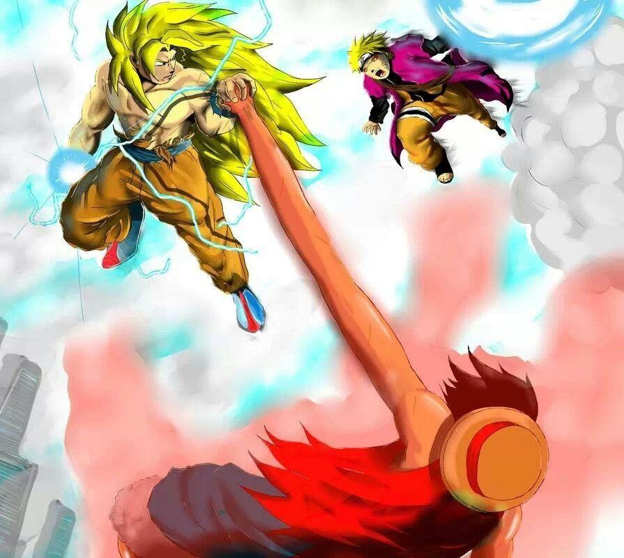 Ssj3 Goku Vs Naruto And Luffy Anime