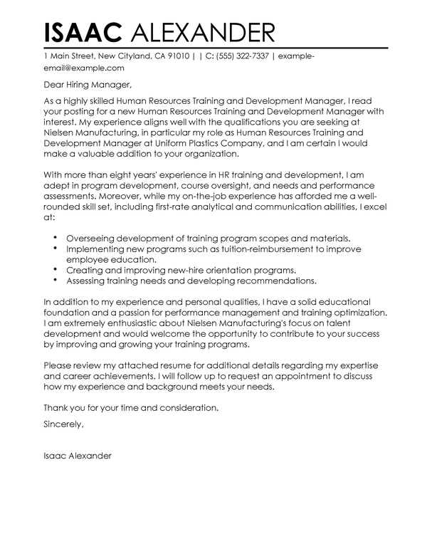 Human Resources Cover Letter Best Training And Development Cover Letter Examples  Livecareer