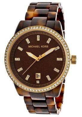 dd6f58ed9510 Michael Kors Women s Brown Dial Tortoise PlasticMichael Kors MK5254 Watch