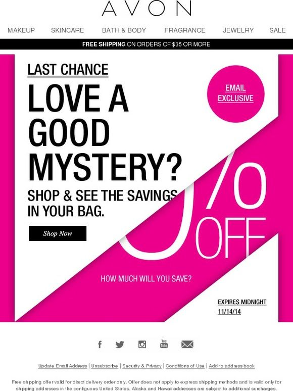 Last Chance Up To 40 OFF In MYSTERY Savings Email Examples   Coupons Design  Templates  Coupons Design Templates
