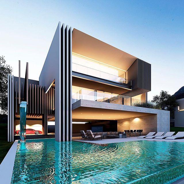 Rear facade villa on process creato masterpiece for Architecture facade villa