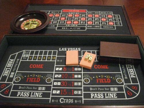Wood Casino Gambling Set Roulette Blackjack Craps Poker Ebay Craps Blackjack Casino