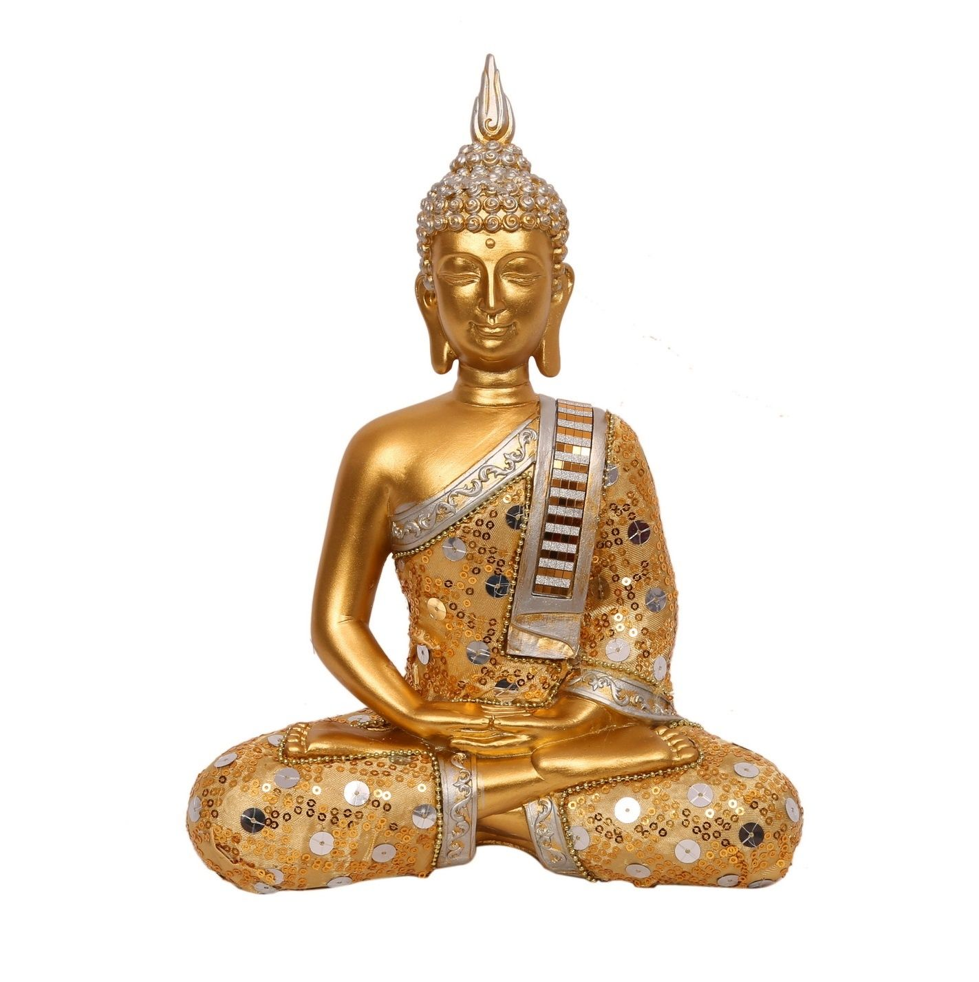 In this artifact, Buddha is meditating with hands in lap, face up ...