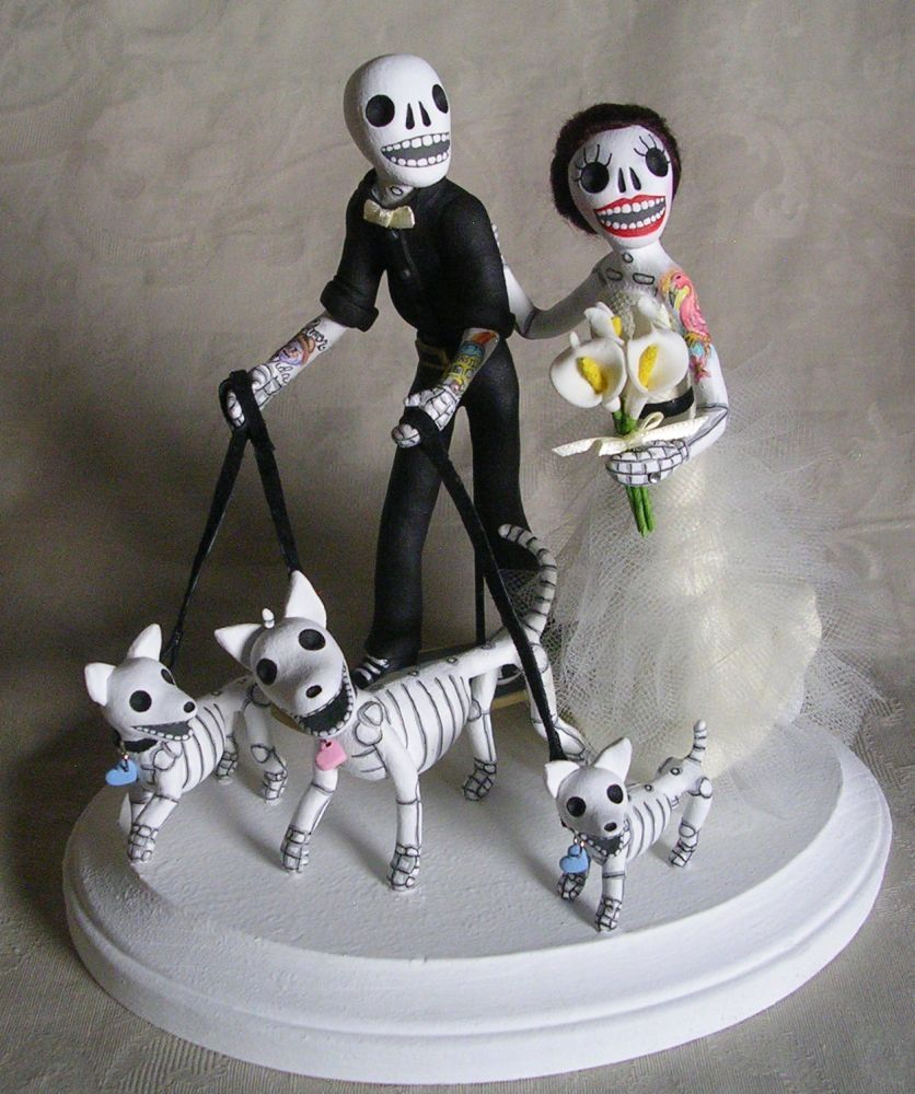 Day of the dead wedding cake topper tattooed skeleton bride and