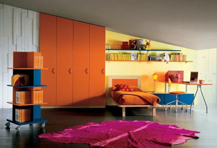 dormitorios juveniles naranja suelo madera alfombra purpura ideas