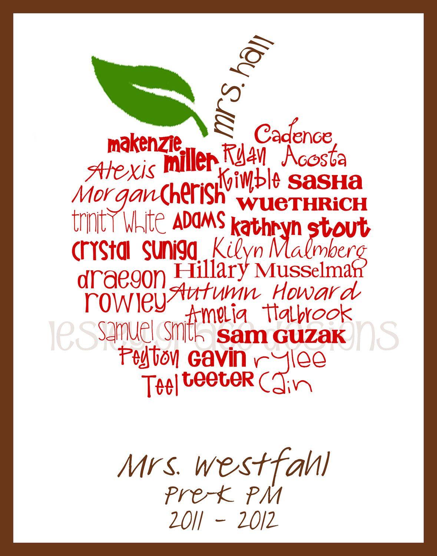 Teacher Apple Art Print | Typography Art | Personalized Art Gift ...