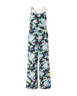 Black Pattern (Black) Black Floral Print Jumpsuit | 311618509 | New Look