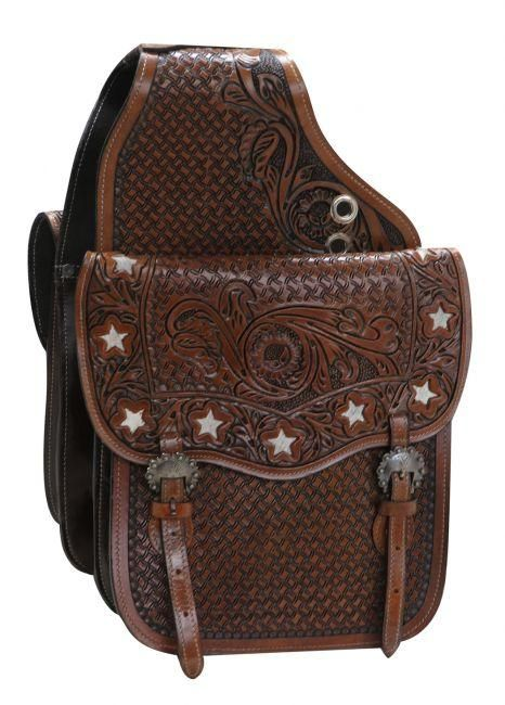 NEW Showman Floral Tooled Leather Saddle Bag w// Praying Cowboy