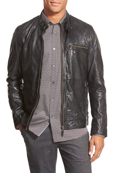 dc13d58e2 Free shipping and returns on Ted Baker London  Visery  Leather Moto Jacket  at Nordstrom.com. A buckle collar and exposed zip cuffs add edgy moto style  to a ...