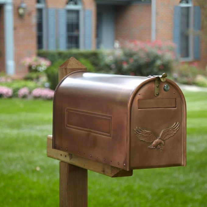 Copper Locking Post Mount Mailbox With Eagle Post Mount Mailboxes Mailboxes And Slots Outdoor Mounted Mailbox Copper Mailbox Diy Letter Boxes