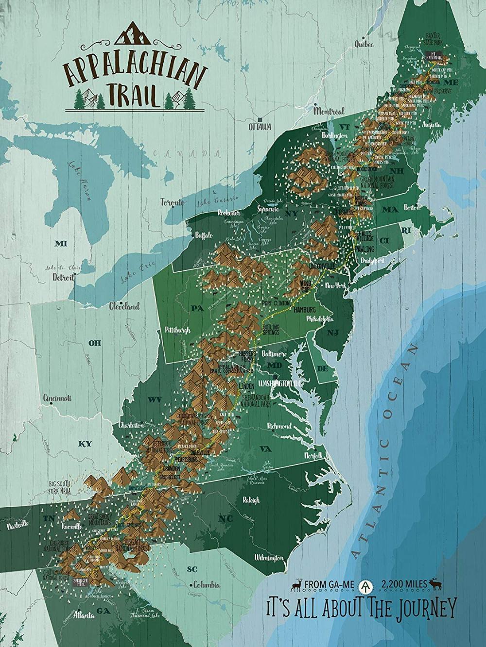 Amazon Com Appalachian Trail Map Hiking Map Of Appalachian Trail Wall Decor Personalized 18x24 Inches Hiking Map Appalachian Trail Appalachian Trail Map