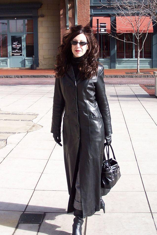 long leather coat   Girls   Pinterest   Leather coats, Long ...