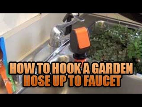 How to Hook a Garden Hose Up To Faucet Attaching Garden Hose to Sink ...