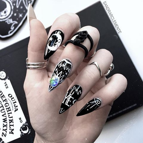ouija nail art short almond shaped nail art designs in
