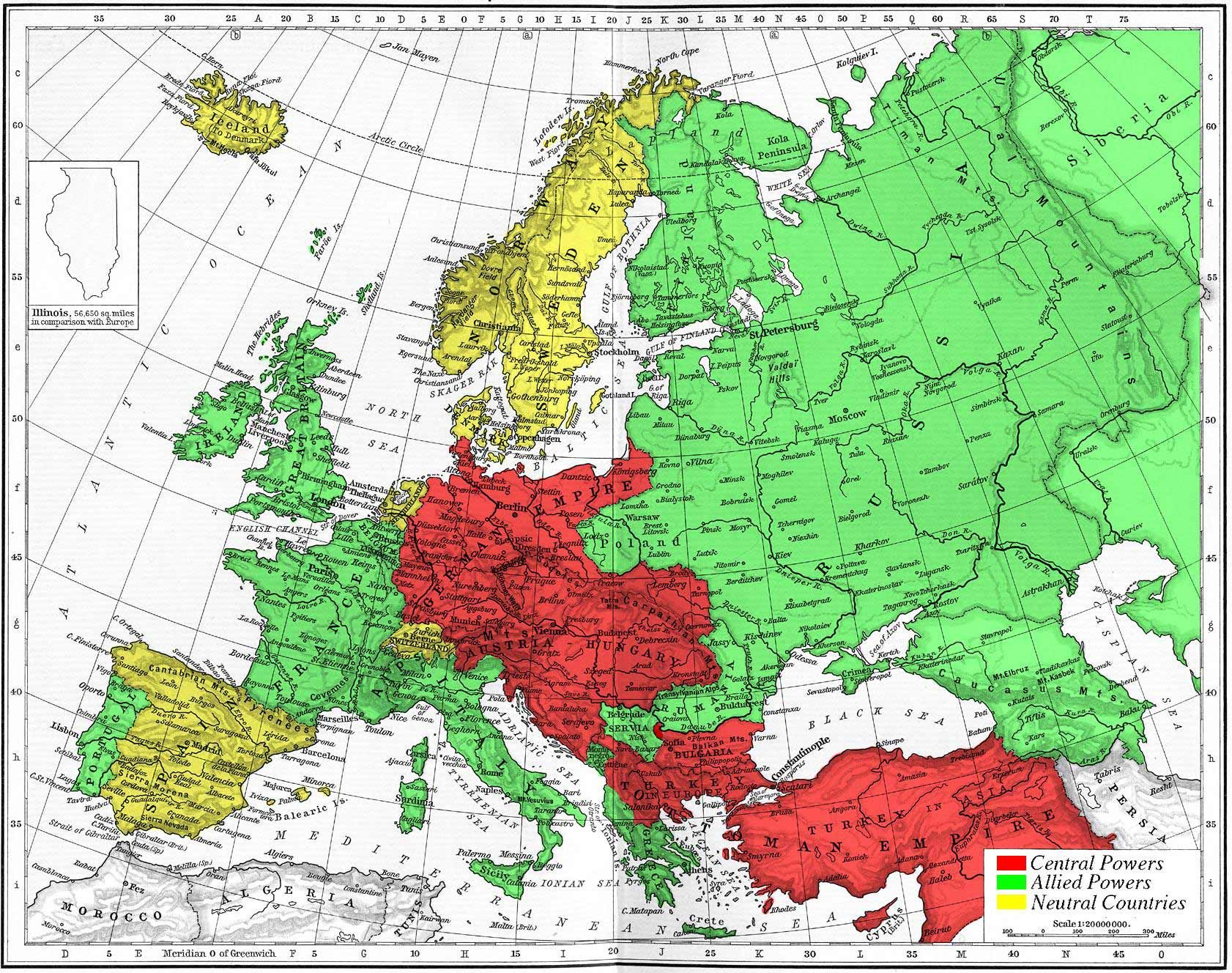 Map of Europe during World war I. | Historical Maps | Europe 1914 ...