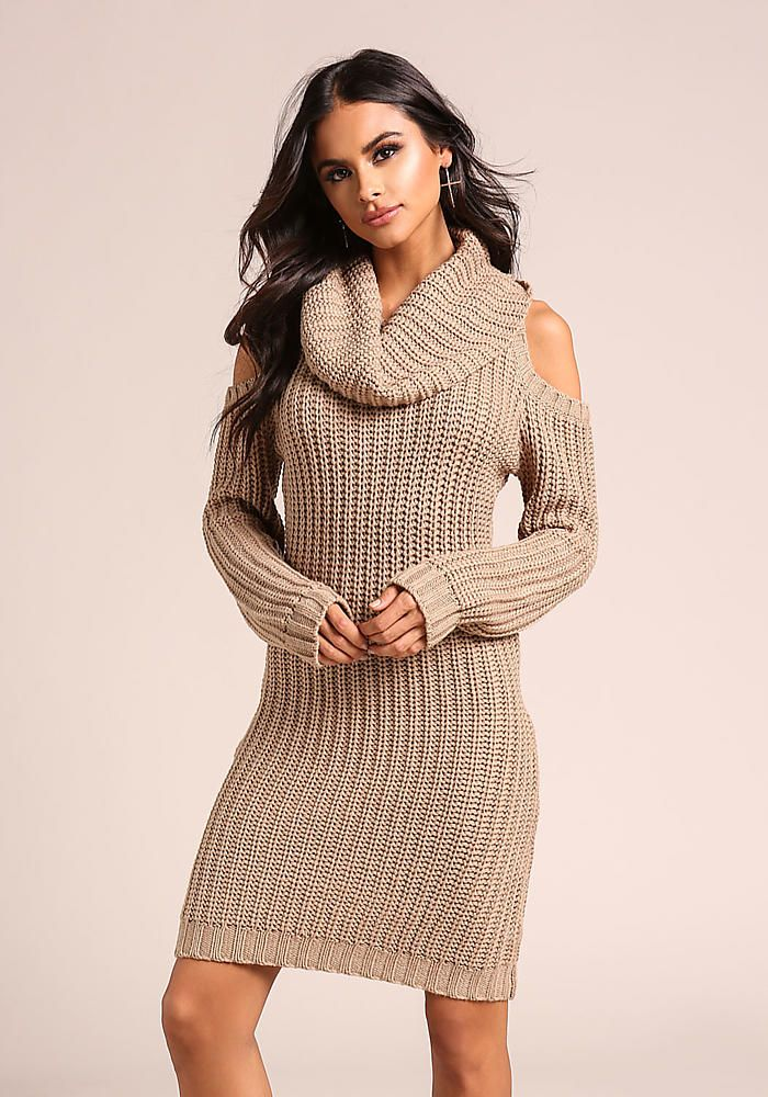22b4818ea05 Taupe Thick Knit Cold Shoulder Sweater Dress - New