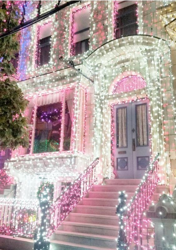 christmas lights in pink and white christmas