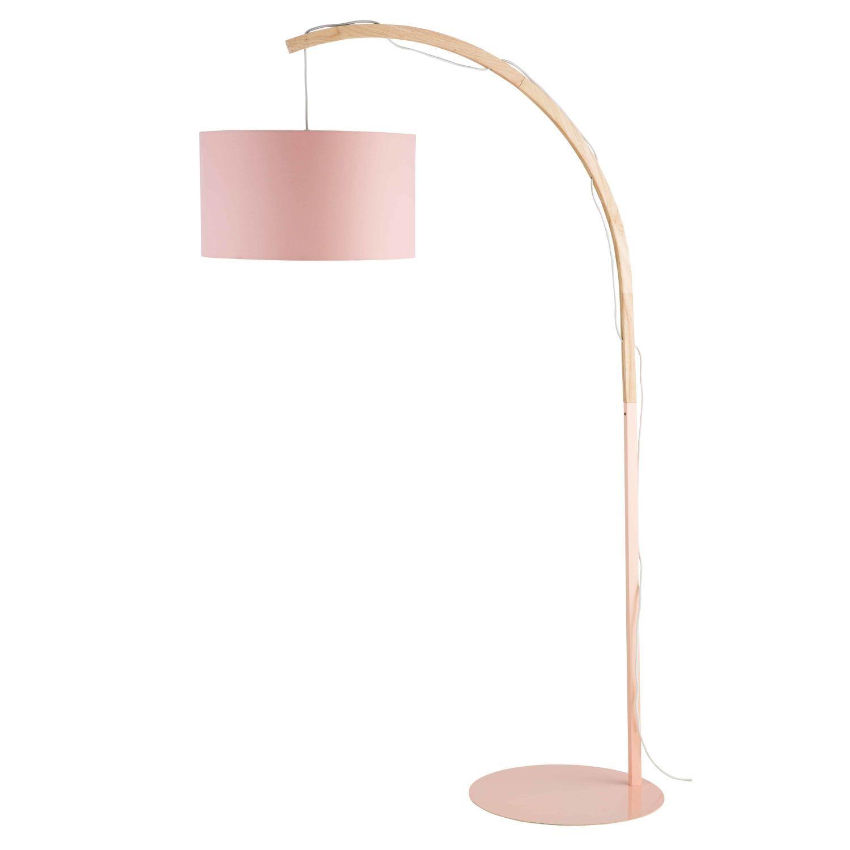 Stehlampe Aus Metall Mit Rosafarbenem Lampenschirm H192