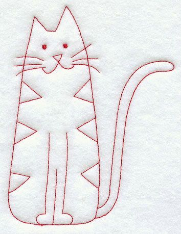 Country Kitty machine embroidered redwork kitchen towel in cotton. Easter. Home decor. Minimalist, vintage. Personalized with name