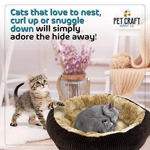 Cute and Comfortable Self Warming Plush Calming Cat Bed
