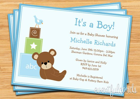 Blue teddy bear baby shower invitation baby blocks and bird baby blue teddy bear baby shower invitation baby blocks and bird filmwisefo Choice Image