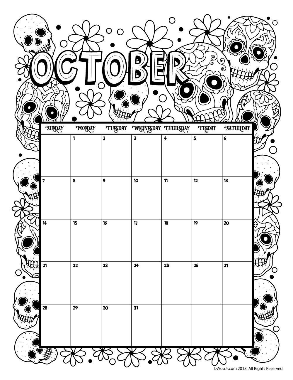 October 2018 coloring calendar page Coloring book 2018