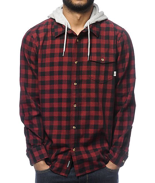 Vans Eckleson Red & Black Hooded Long Sleeve Button Up Shirt ...