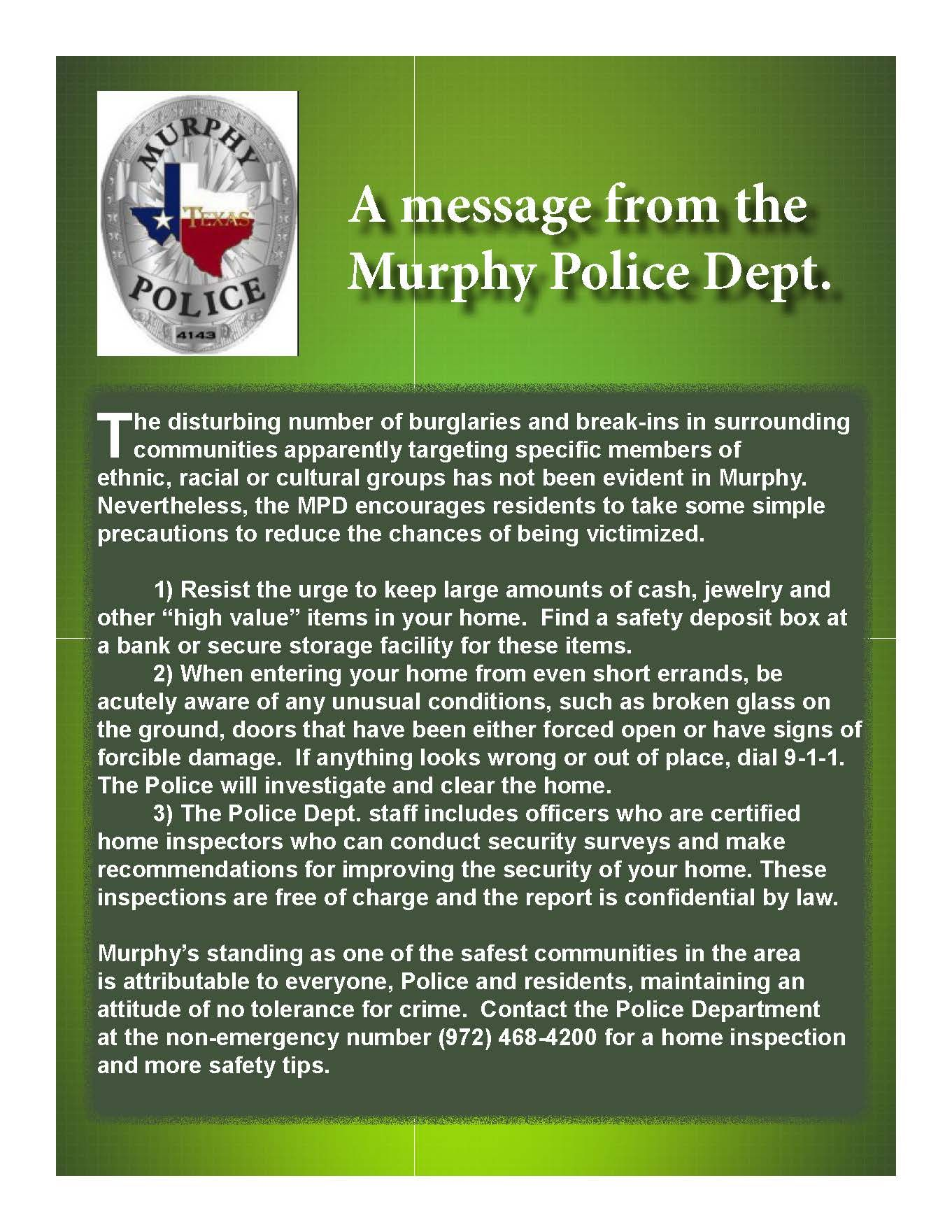 A Message From Murphy Pd Police Dept Messages Racial