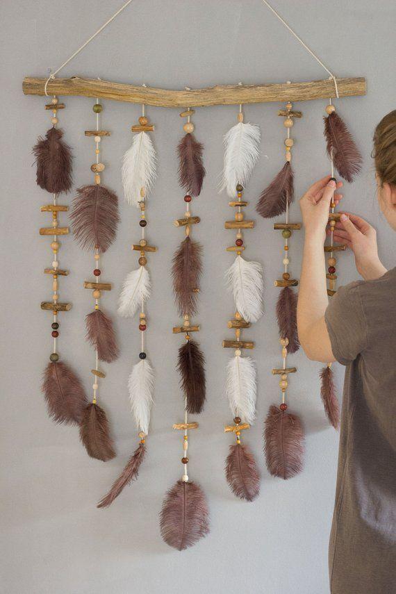 Boho wall decor, nursery, bohemian decor, baby shower gift, feather, wall hanging, wood wall