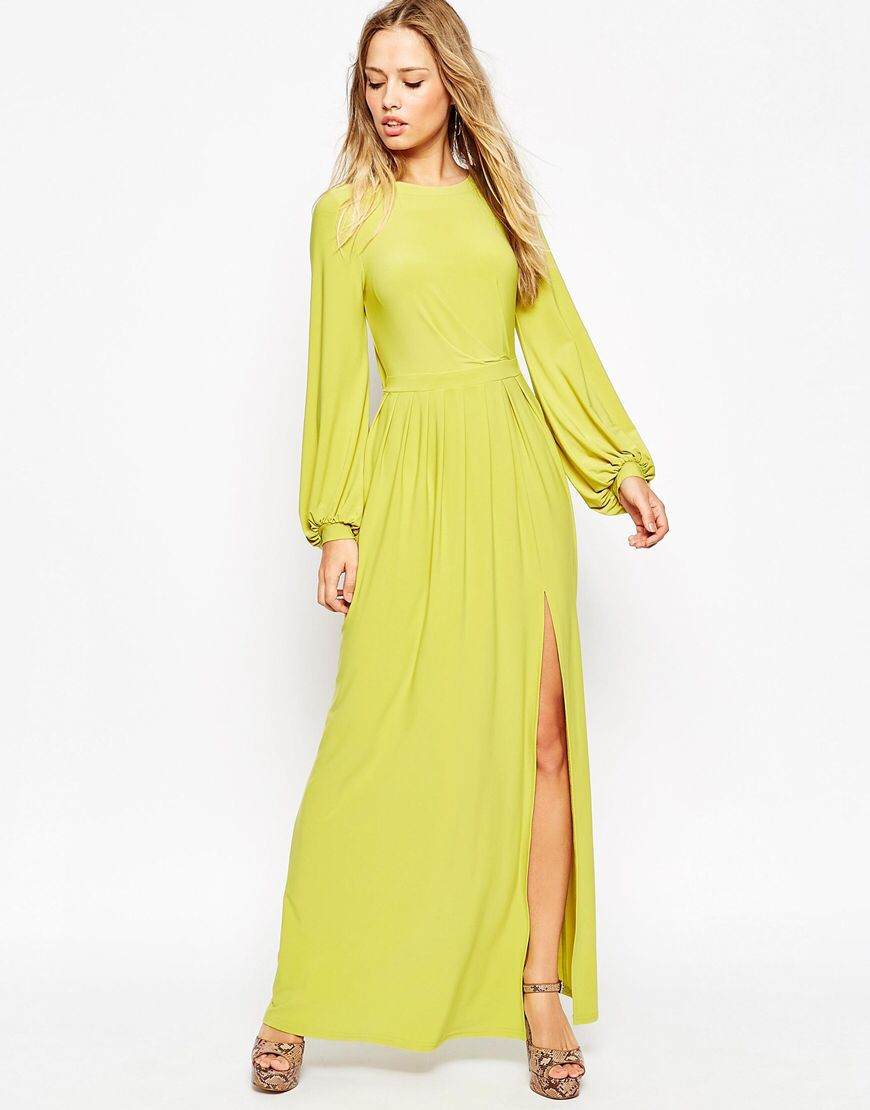 Long sleeve slinky maxi dress letus get this party started
