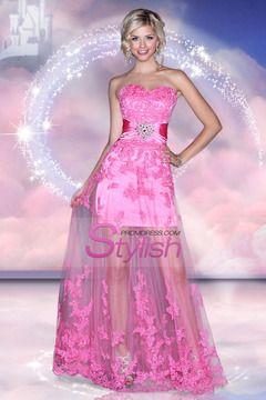 2014 Sweetheart Sheath/Column Prom Dress Pick Up Long Tulle Skirt With Beads And Applique USD 166.99 STPFCPCCB1 - StylishPromDress.com for mobile
