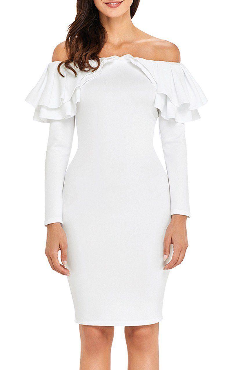 fea46fdd87c3 Mode White Ruffle Off The Shoulder Long Sleeve Bodycon Dress ChicLike.com