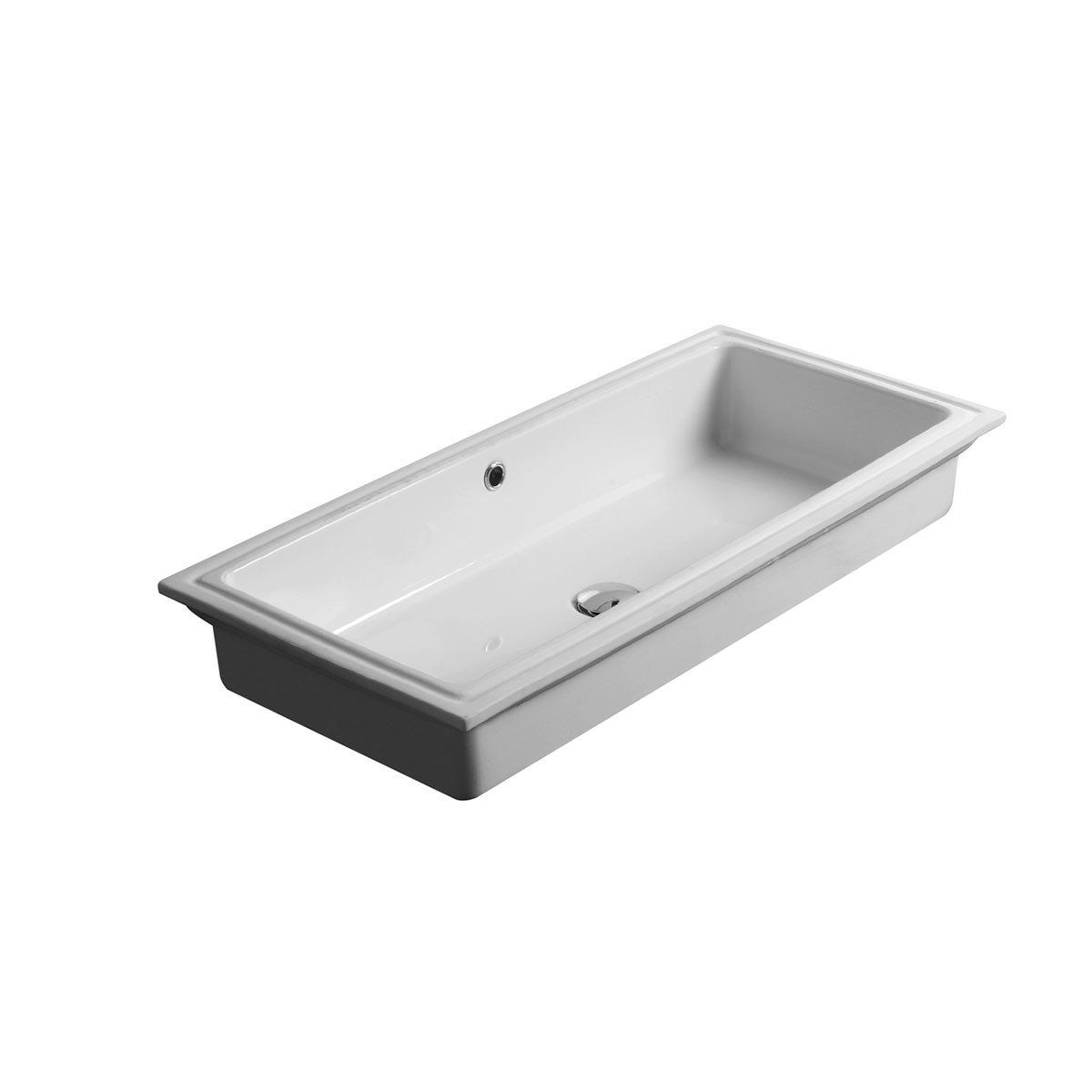 Beautiful Modern Designer High End Luxurious Large Rectangular Undermount Bathroom Sink In Ceramic White