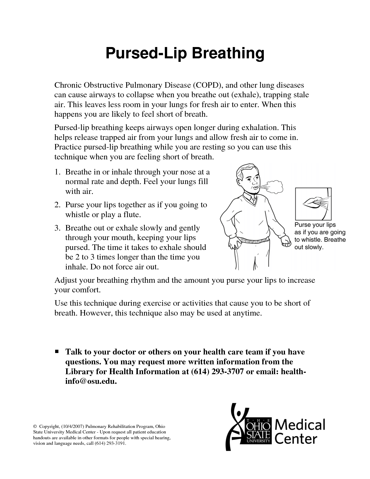 Pursed Lip Breathing Handout | www.imgkid.com - The Image ...