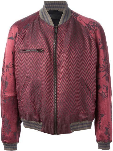 a035e6042 Shop Haider Ackermann chevron and floral brocade bomber jacket in O ...