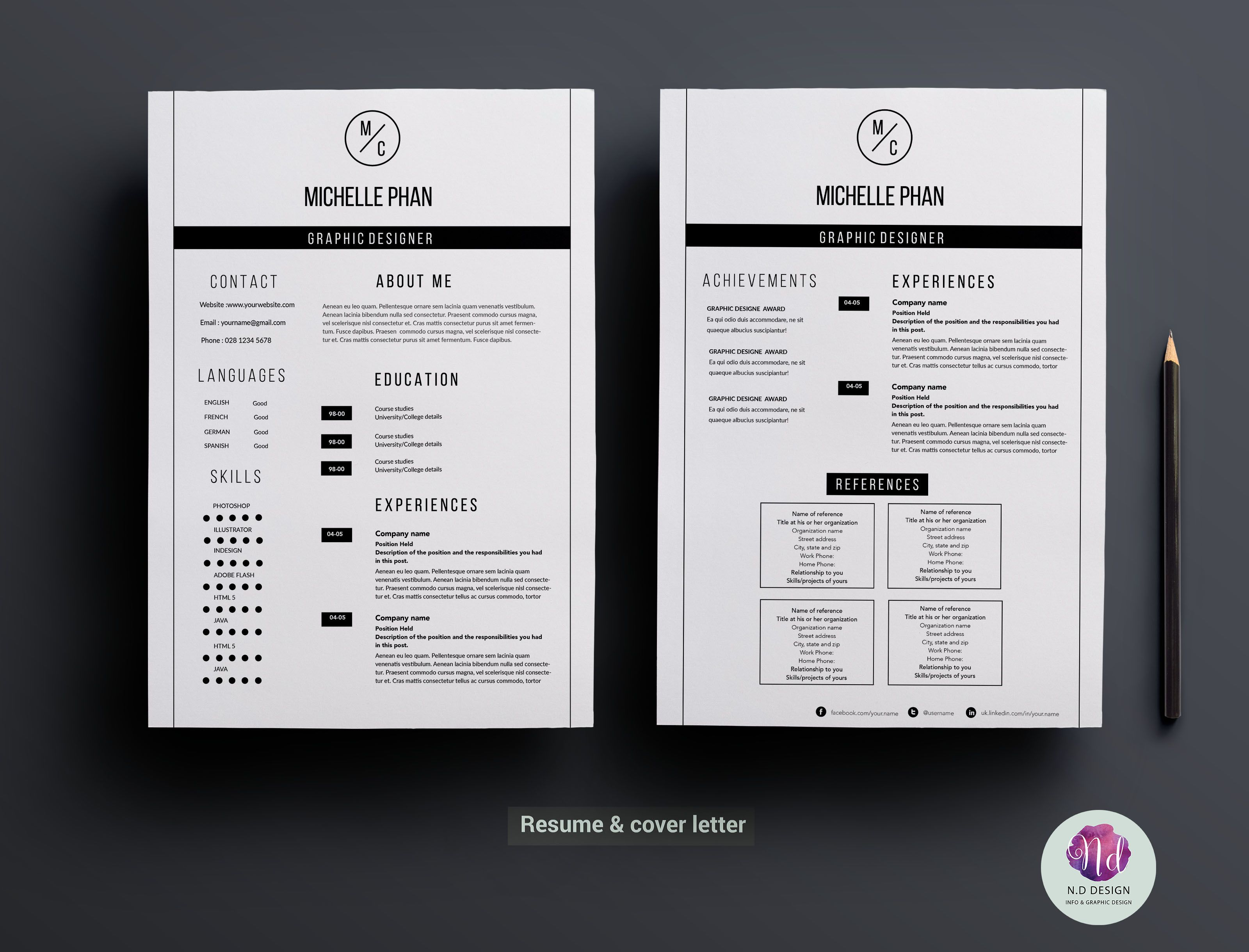 Modern 2 Page Resume Template Resume Template Creative Resume Templates Cv Cover Letter