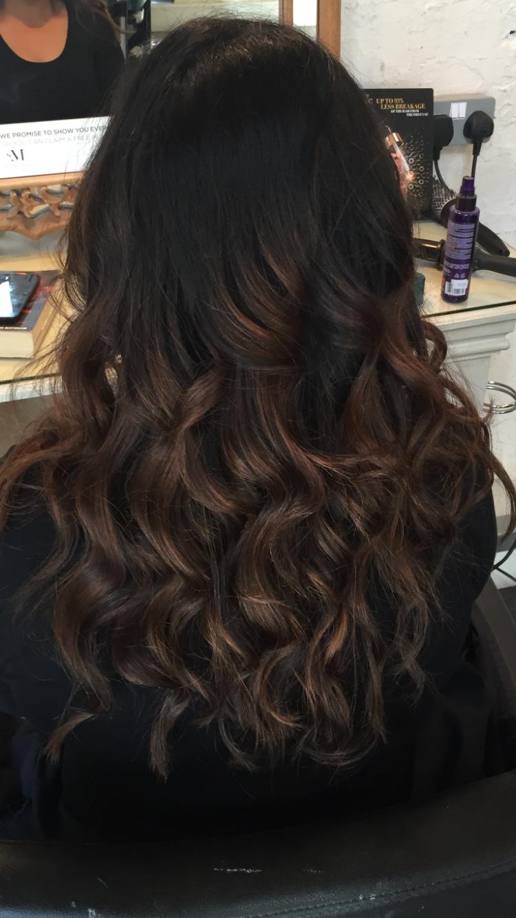 Balayage, black hair, brown, caramel, inspired by Emily ...