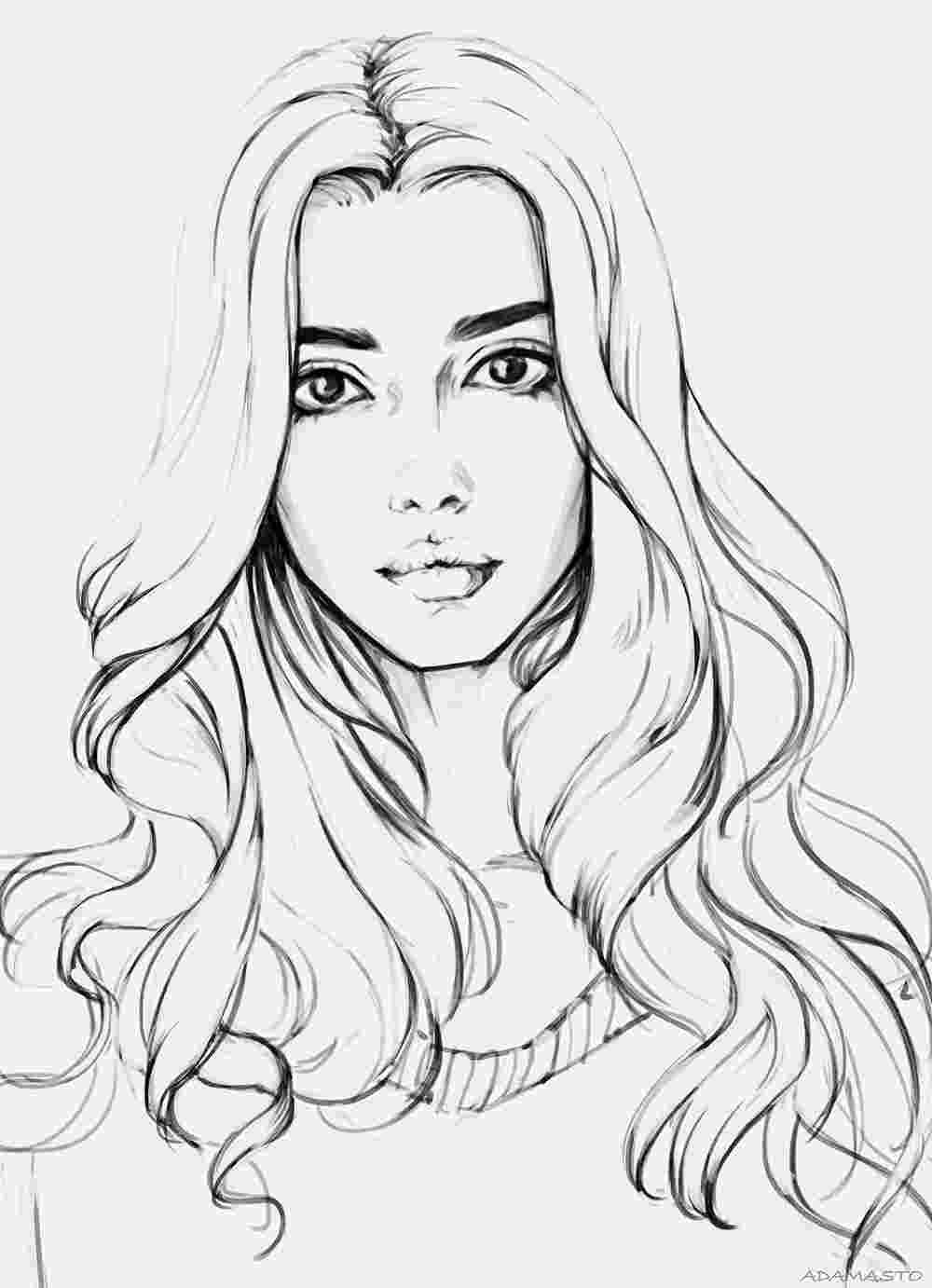 Realistic Girl Coloring Page Art Drawings Beautiful People