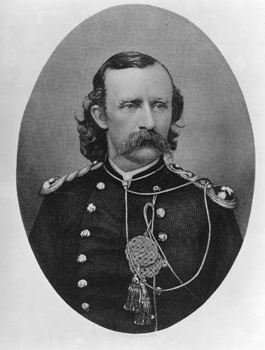 """George Armstrong Custer, West Point graduate, and Civil War hero. Died June 25, 1876, at the Battle of the Little Big Horn valley. About his reputation: """"It's easy to kick a dead lion."""""""