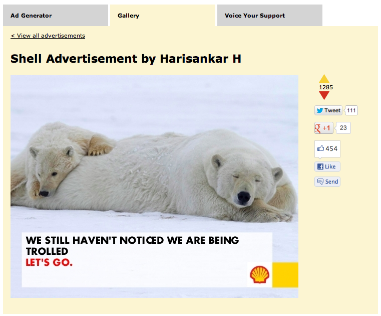 Shell gets trolled by meme generator, Greenpeace turns meme into billboard