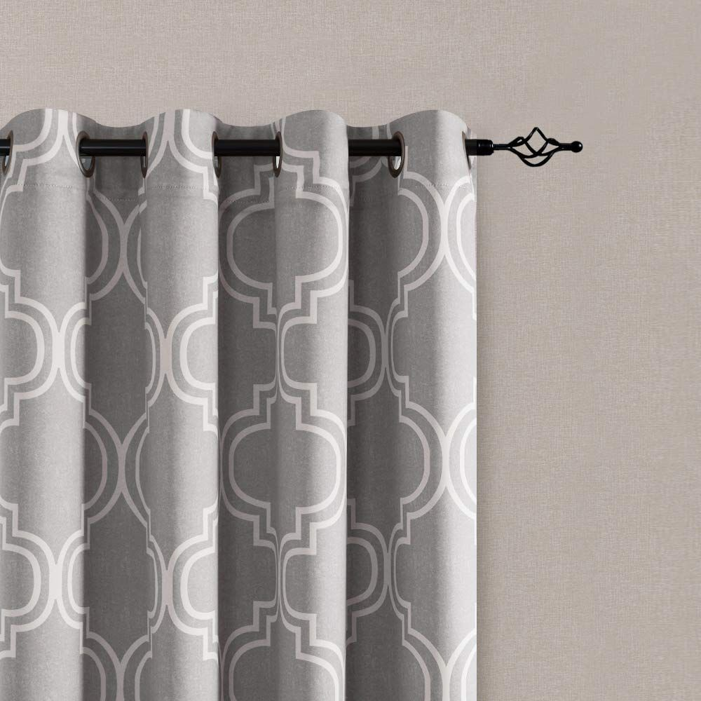 Vangao Room Darkening Curtains Quatrefoil Morrocan Tile Print Grey Drapes For Bedroom 63 Inches 85 Blac In 2020 With Images Curtains Black Shower Curtains Room Darkening Curtains
