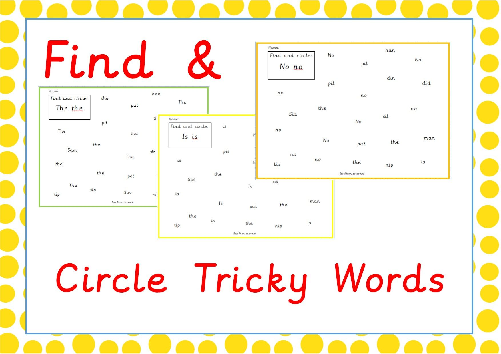 Find And Circle Tricky Words Available On Epicphonics